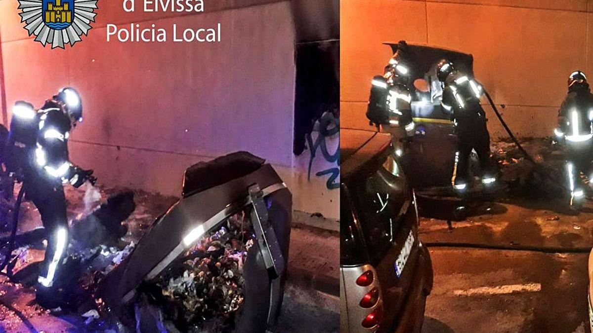 Dos imágenes de los cuatro contenedores quemados en Vila.   AYUNTAMIENTO DE EIVISSA